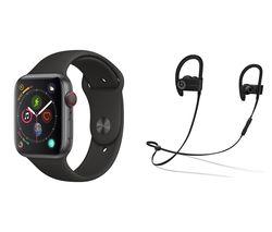APPLE Watch Series 4 Cellular & Powerbeats3 Wireless Bluetooth Headphones Bundle - Space Grey & Black Sports Band, 44 mm