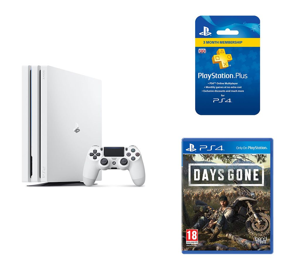 SONY  PlayStation 4 Pro, Days Gone & PlayStation Plus 3 Month Subscription Bundle - 1 TB, White, Whi
