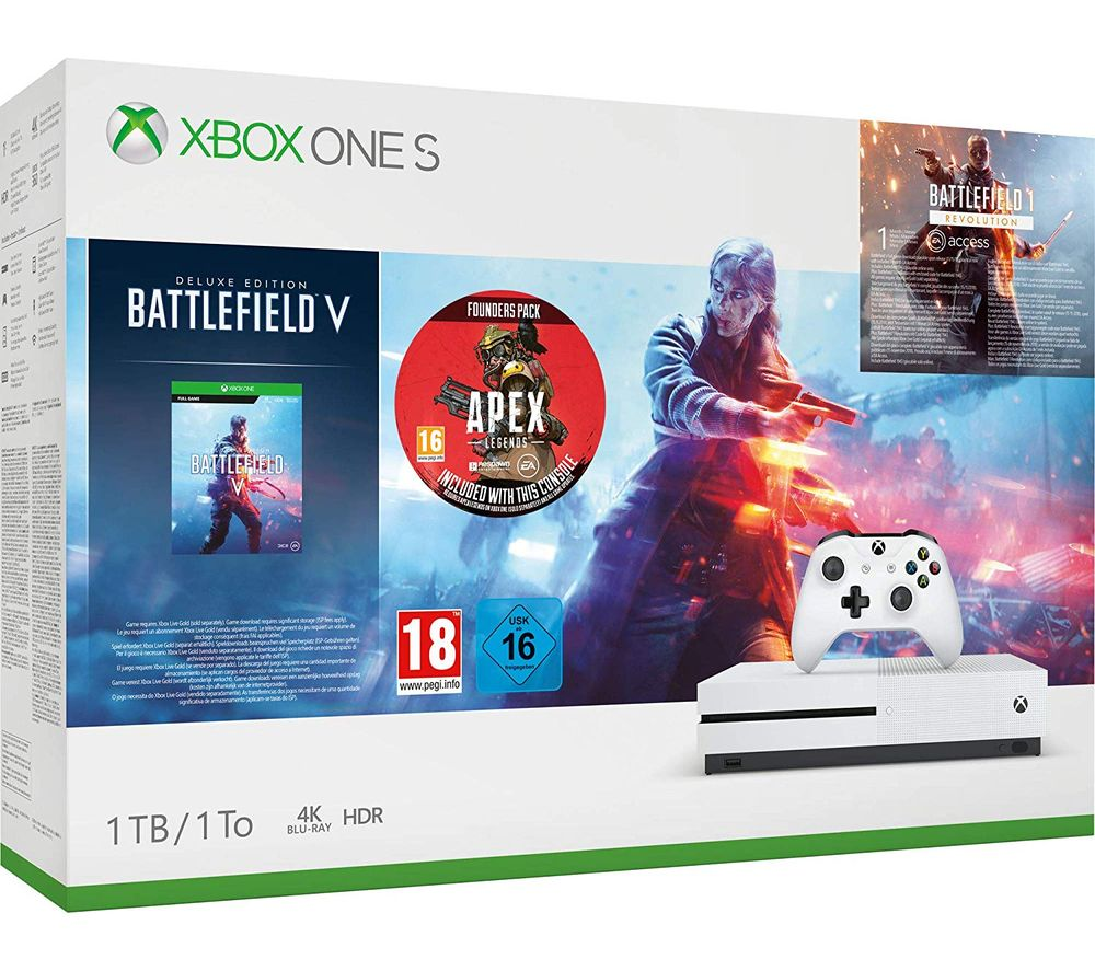 MICROSOFT Xbox One S with Battlefield V & Apex Legends Founders Pack - 1 TB