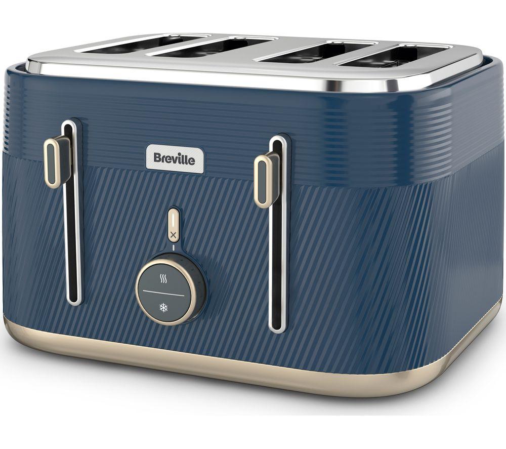 BREVILLE Obliq VTT996 4-Slice Toaster - Navy & Gold, Navy