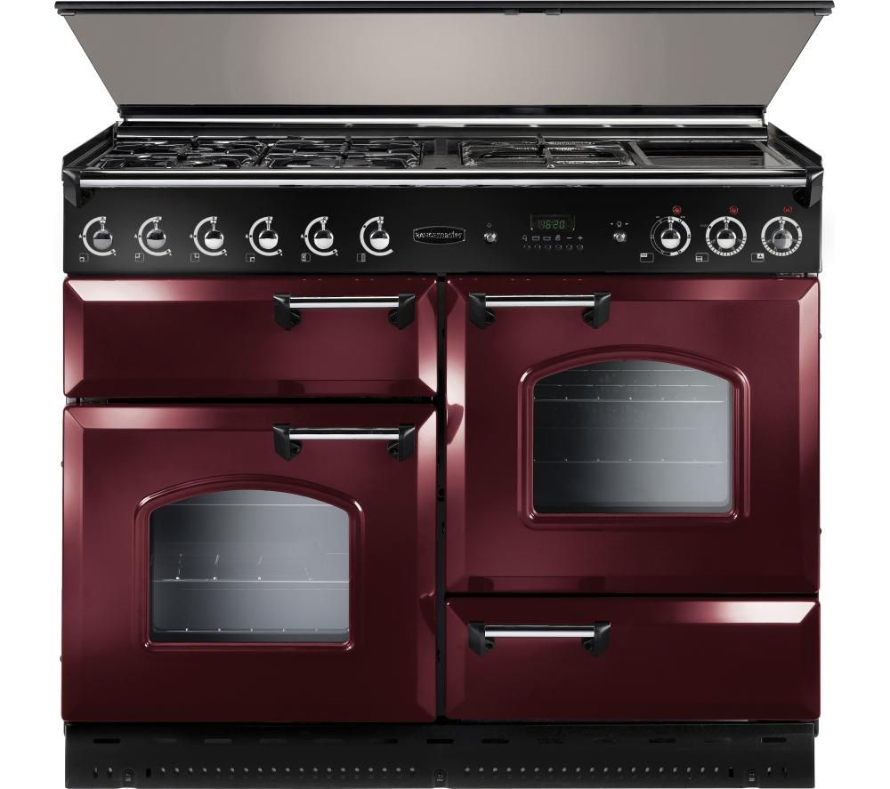 Image of Rangemaster Classic 110 Dual Fuel Range Cooker - Cranberry & Chrome, Cranberry