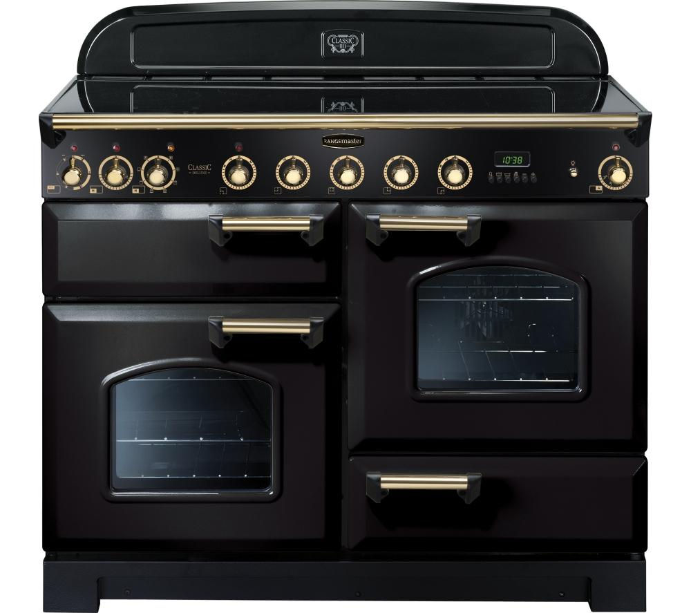 Image of RANGEMASTER Classic Deluxe 110 Electric Induction Range Cooker - Black & Brass, Black