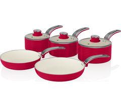 SWAN SWPS5020RN 5-piece Non-stick Saucepan Set - Red