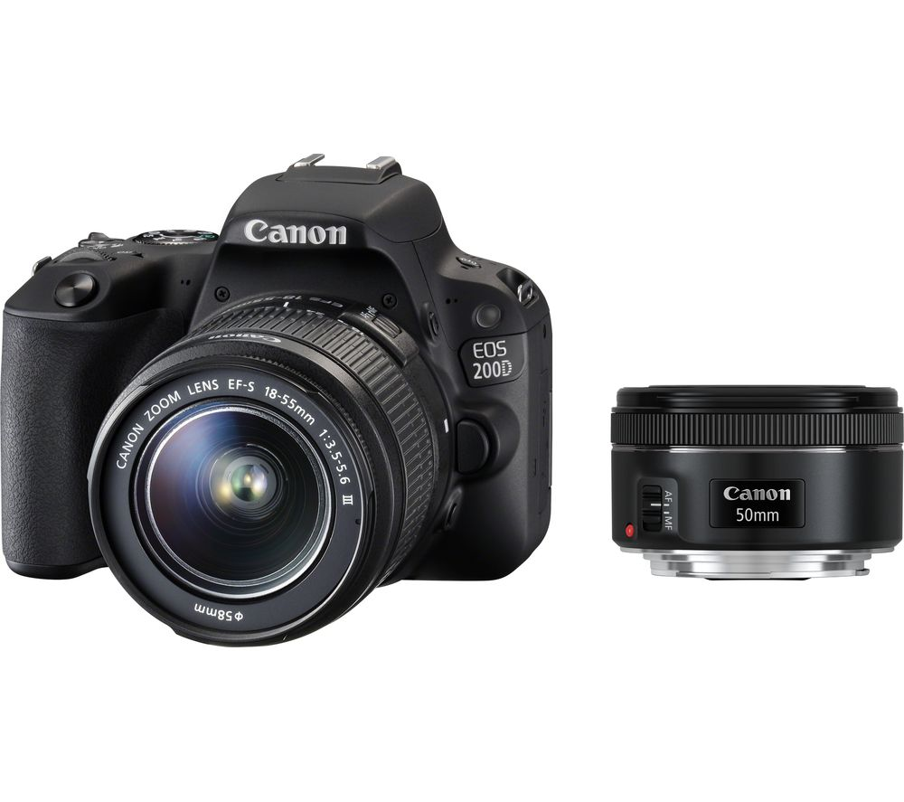 Compare prices for Canon EOS 200D DSLR Camera with 18-55 mm f/3.5-f/5.6 DC and 50 mm f/1.8 STM Lens