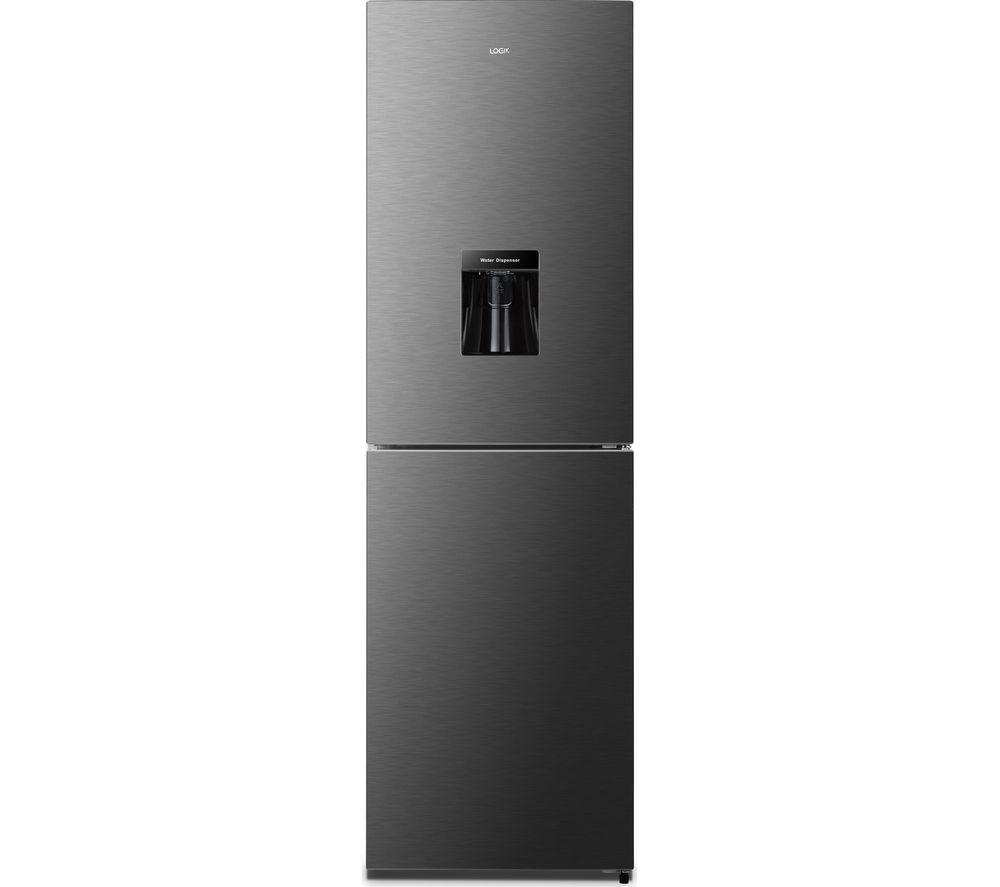 LOGIK LNFD55T18 50/50 Fridge Freezer - Black Steel, Black