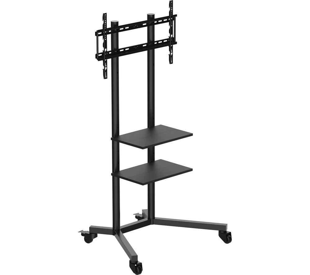 buy mmt tv02 trolley 800 mm tv stand with bracket black free delivery currys. Black Bedroom Furniture Sets. Home Design Ideas