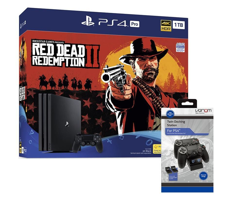 PlayStation 4 Pro, Red Dead Redemption 2 & Twin Docking Station Bundle, Red