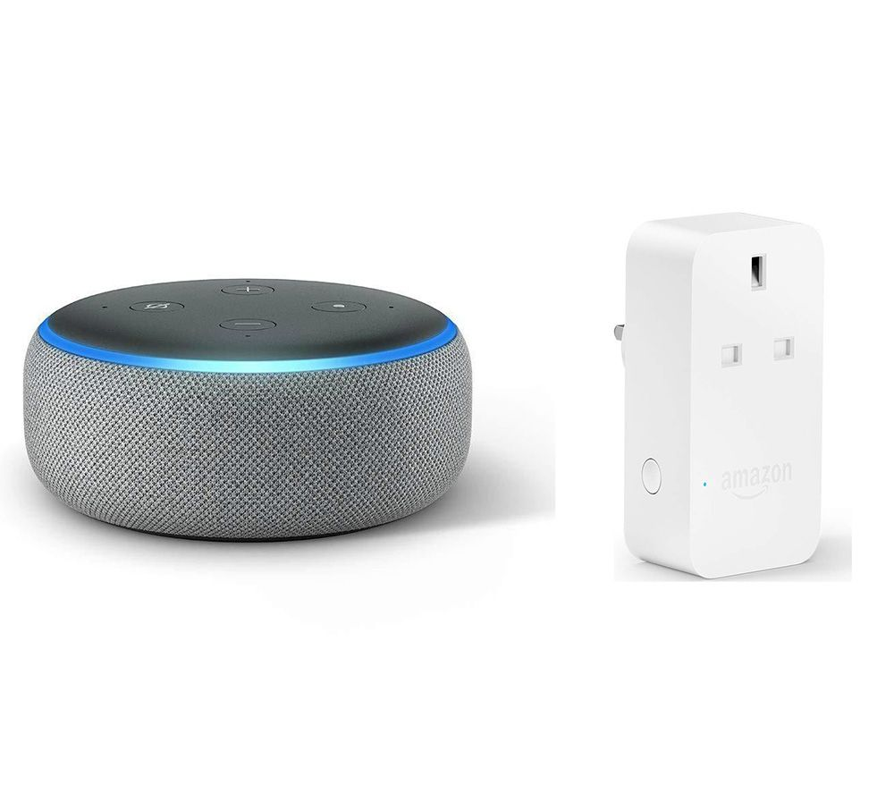 Image of AMAZON Echo Dot (2018) & Smart Plug Bundle - Heather Grey, Grey