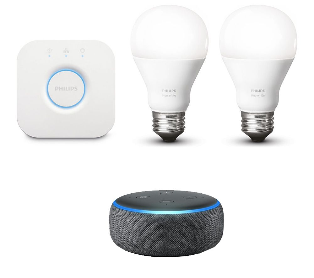 PHILIPS Hue White Smart Bulb E27 Starter Kit & Echo Dot Bundle - Charcoal