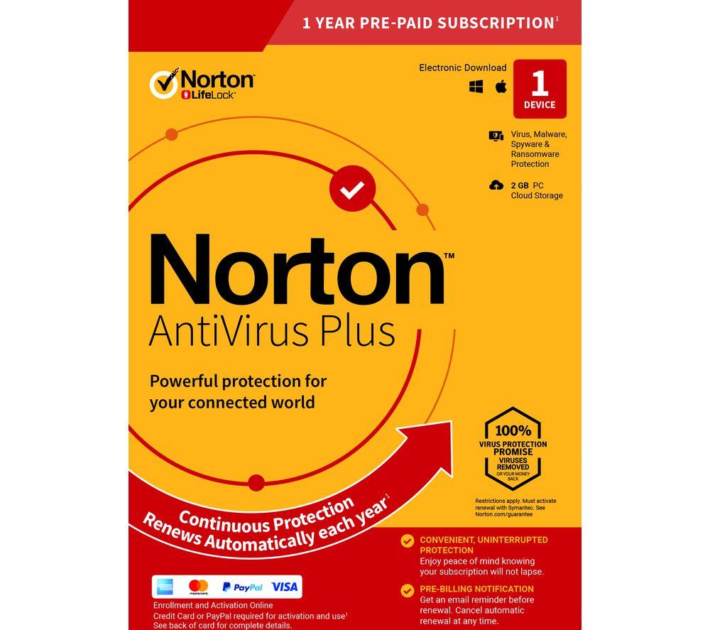 NORTON AntiVirus Plus - 1 year for 1 device (download)