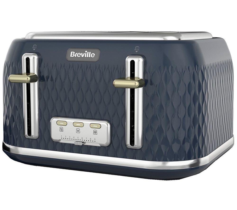 Image of BREVILLE Curve VTT965 4-Slice Toaster - Gold & Navy Blue, Gold
