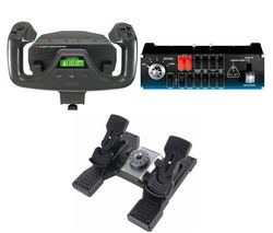 Pro Flight Bundle - Rudder Pedals, Switch Panel & Yoke System