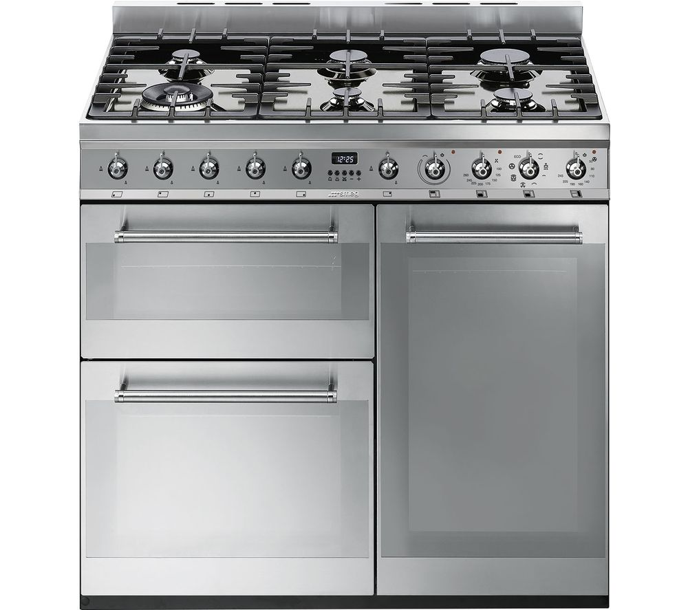 SMEG Symphony SY93 90 cm Dual Fuel Range Cooker - Stainless Steel