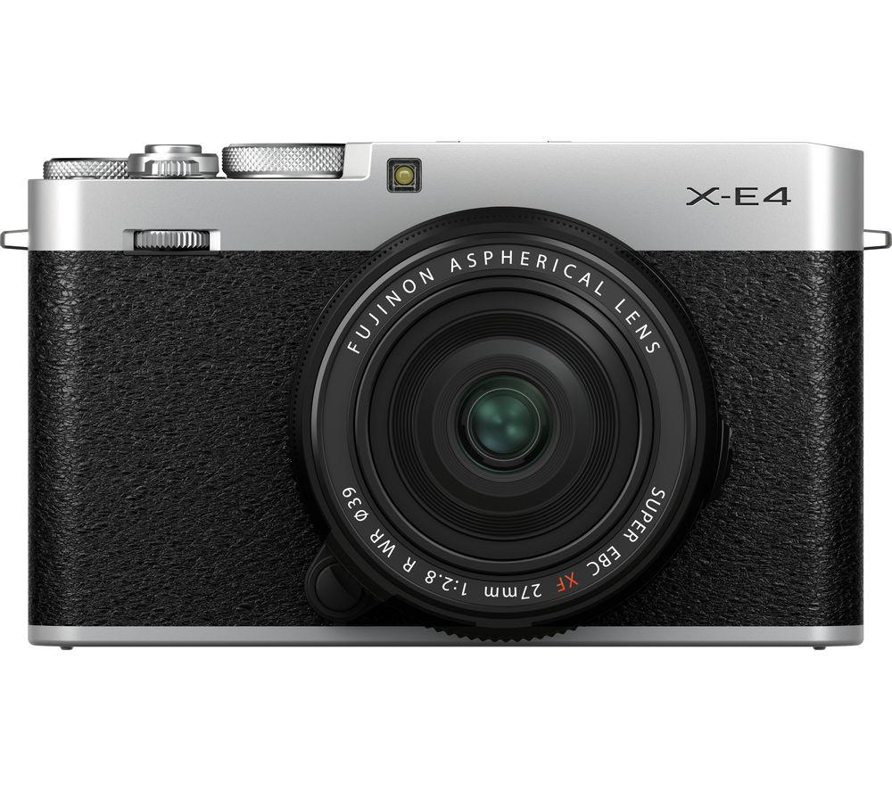 Fujifilm X E4 Mirrorless Camera With Fujinon Xf 27 Mm F 28 R Wr Lens Silver Silver