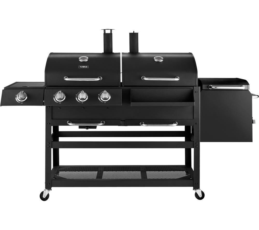TOWER T978507 3 Burner Grill Gas & Charcoal BBQ & Smoker - Black