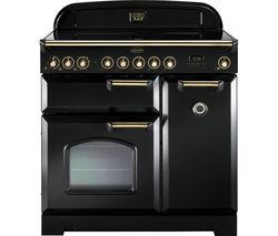RANGEMASTER Classic Deluxe 90 Electric Range Cooker - Black & Brass