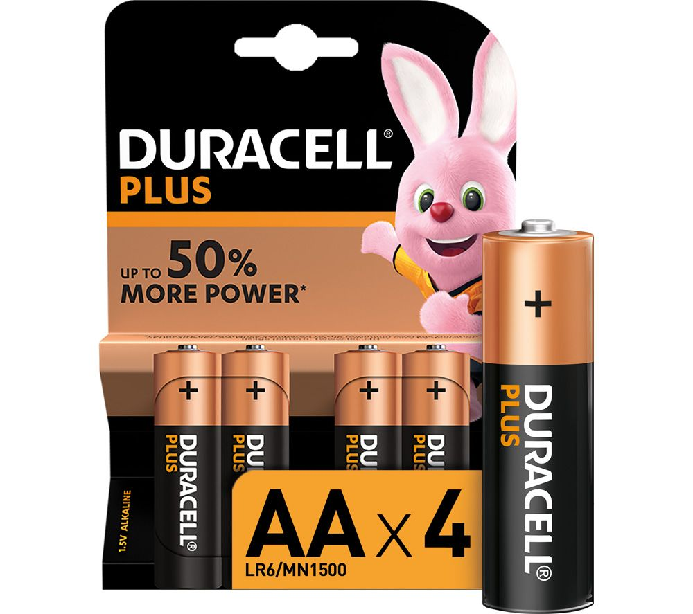 DURACELL AA Plus Alkaline Batteries - Pack of 4