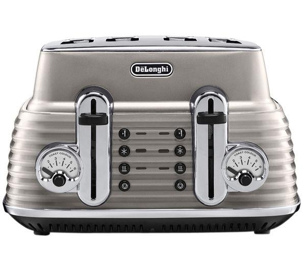 Image of DELONGHI Scultura CTZ4003BG 4-Slice Toaster - Champagne