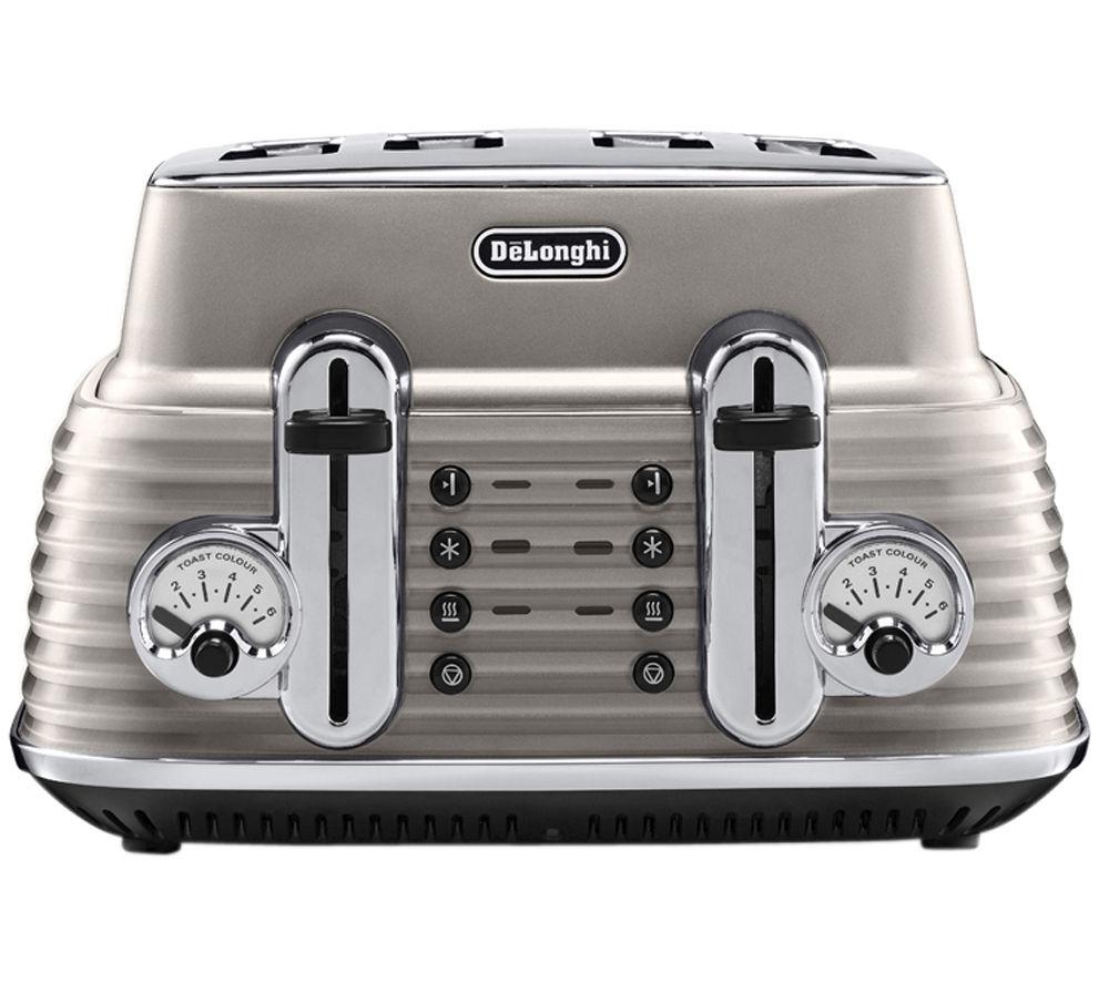 DELONGHI Scultura CTZ4003BG 4-Slice Toaster - Champagne + Scultura KBZ3001BG Jug Kettle - Champagne + Scultura ECZ351BG Espresso Machine - Champagne