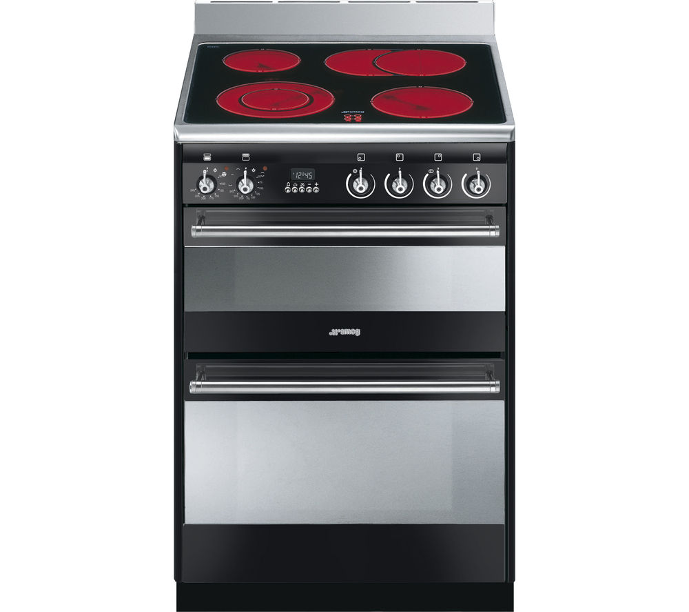 SMEG SUK62CBL8 Electric Ceramic Cooker - Black & Stainless Steel