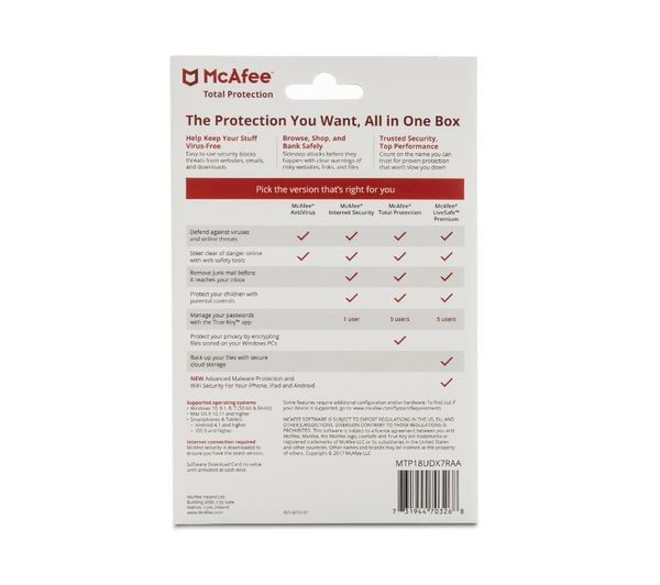 mcafee total protection 2018 uk