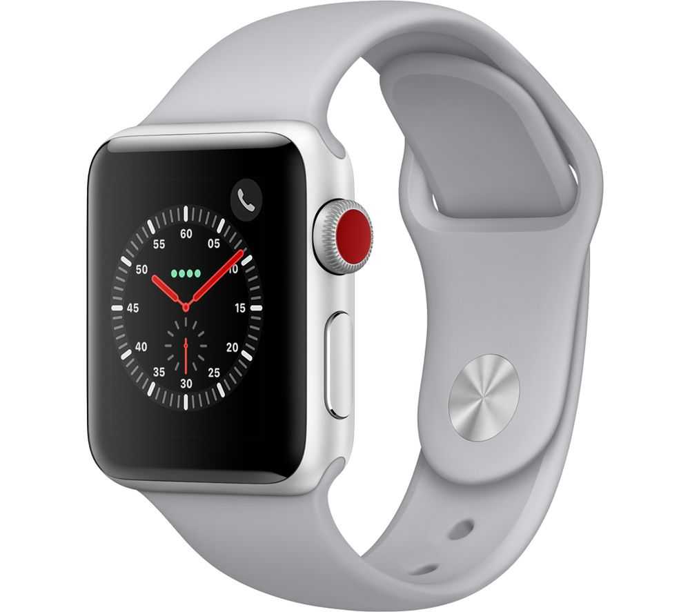 APPLE Watch Series 3 Cellular - Silver, 38 mm + AirPods Wireless Bluetooth Headphones - White