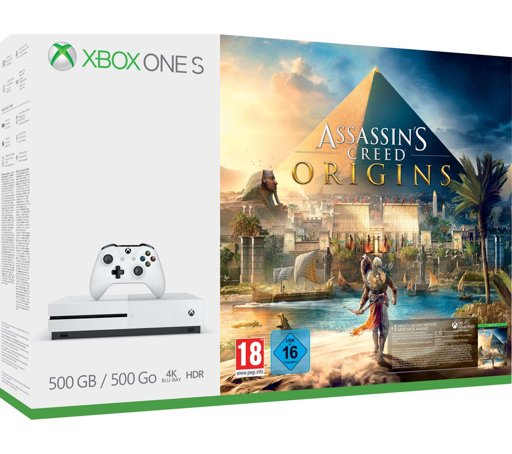 Compare cheap offers & prices of Microsoft Xbox One S with Assassins Creed Origins manufactured by Microsoft
