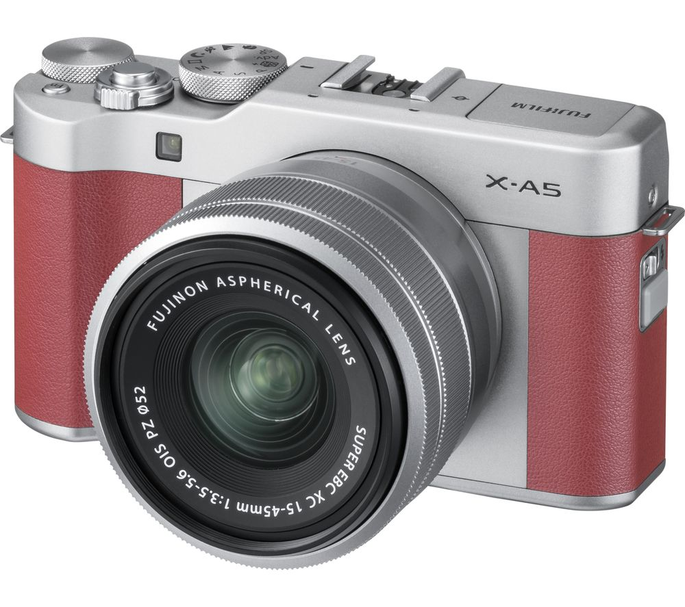 FUJIFILM X-A5 Mirrorless Camera with FUJINON XC 15-45 mm f/3.5-5.6 OIS PZ Lens - Pink