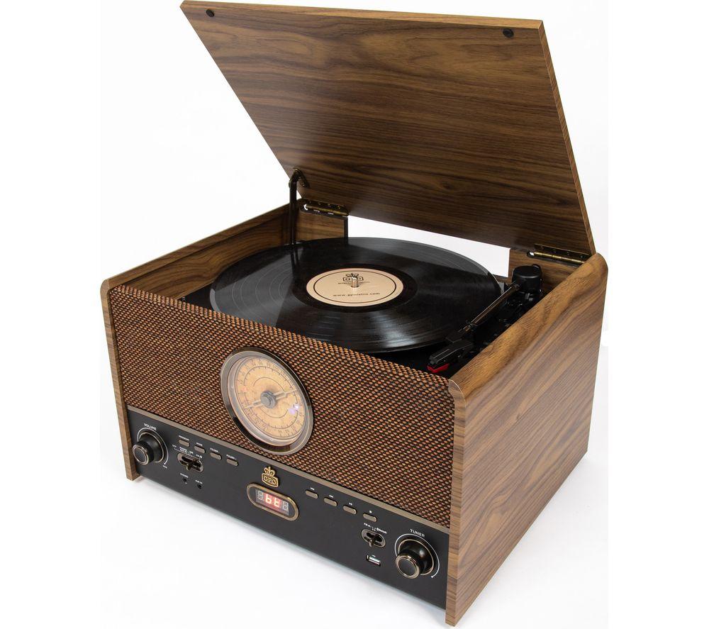 GPO Maestro Belt Drive Bluetooth Music Centre - Brown
