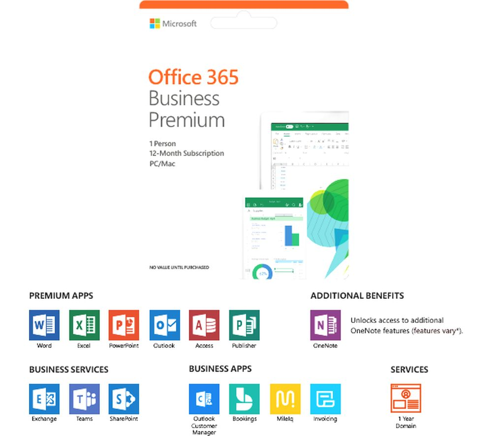 Microsoft Office 365 Business Premium 1 Year For 1 User Deals Pc