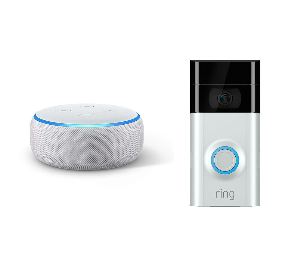 RING Video Doorbell 2 & Echo Dot (2018) Bundle - Sandstone