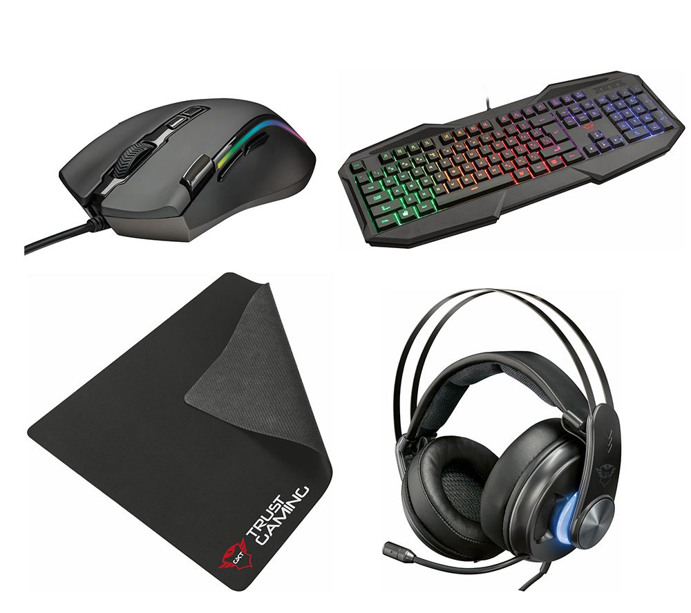 TRUST 383 Dion 7.1 Gaming Headset, 830-RW Avonn Gaming Keyboard, 188 Laban Optical Gaming Mouse & 754 Gaming Surface Bundle