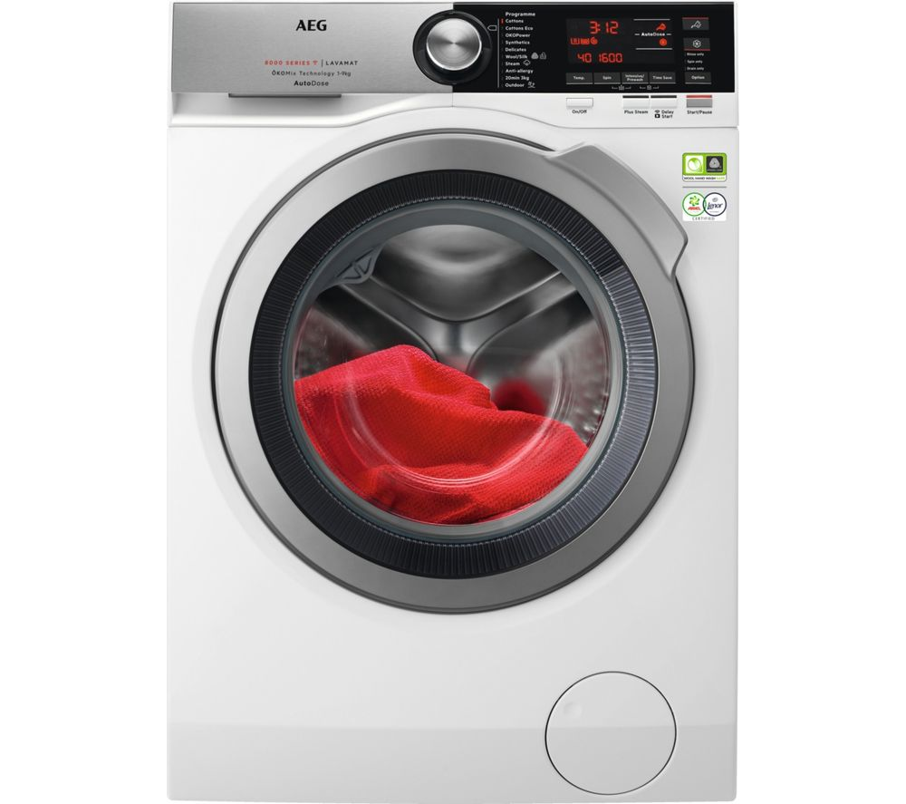 AEG AutoDose 8000 Series L8FEC966CA WiFi-enabled 9 kg 1600 Spin Washing Machine - White, White