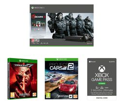 MICROSOFT Xbox One X with Gears 5, Tekken 7, Project Cars 2 & Game Pass Ultimate Bundle