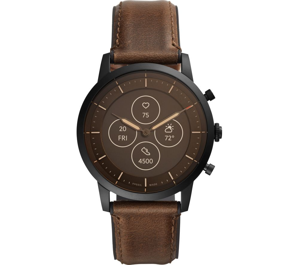 FOSSIL Collider Hybrid HR FTW7008 - Brown, Leather Strap