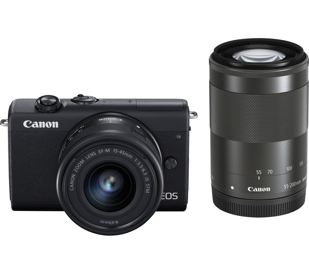 Canon Eos M200 Mirrorless Camera With Ef M 15 45 Mm F 35 63 Is Stm 55 200 Mm F 45 63 Is Stm Lens
