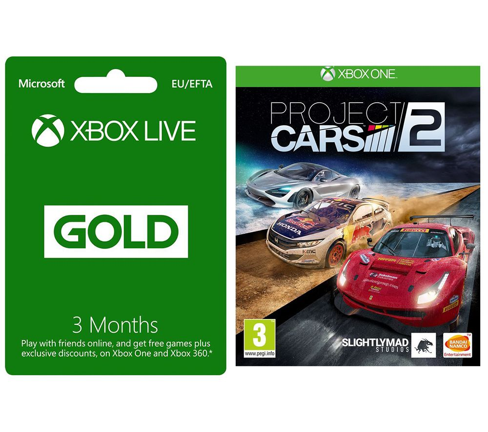 MICROSOFT Xbox LIVE Gold Membership 3 Month Subscription & Project Cars 2 Bundle, Gold