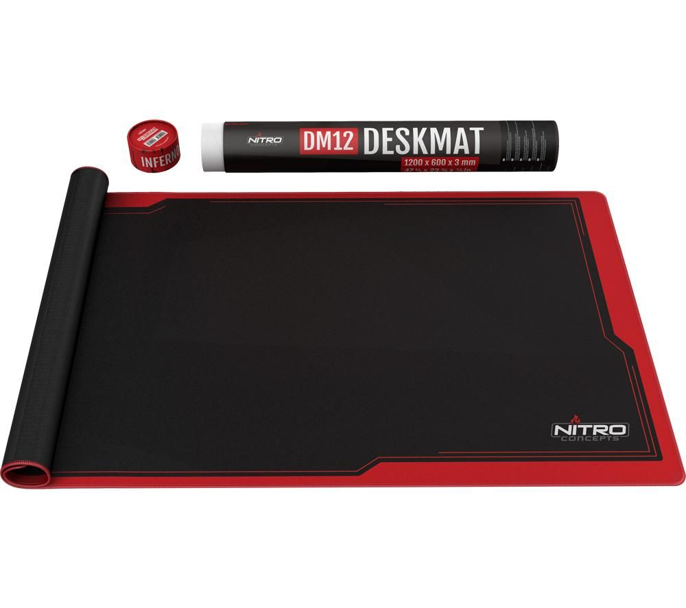 Image of Nitro Concepts Desk Mat 1200 x 600mm - Black/Red