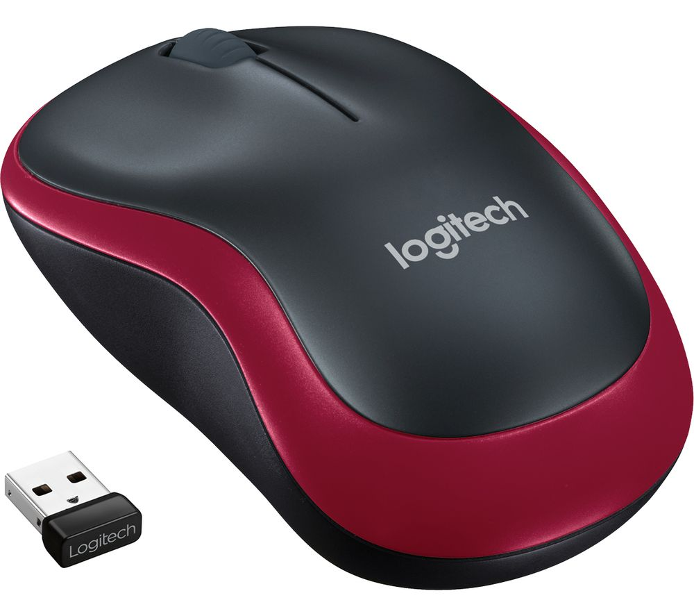 Image of Logitech M185 Wireless Mouse Radio Wi-Fi mouse Optical Red