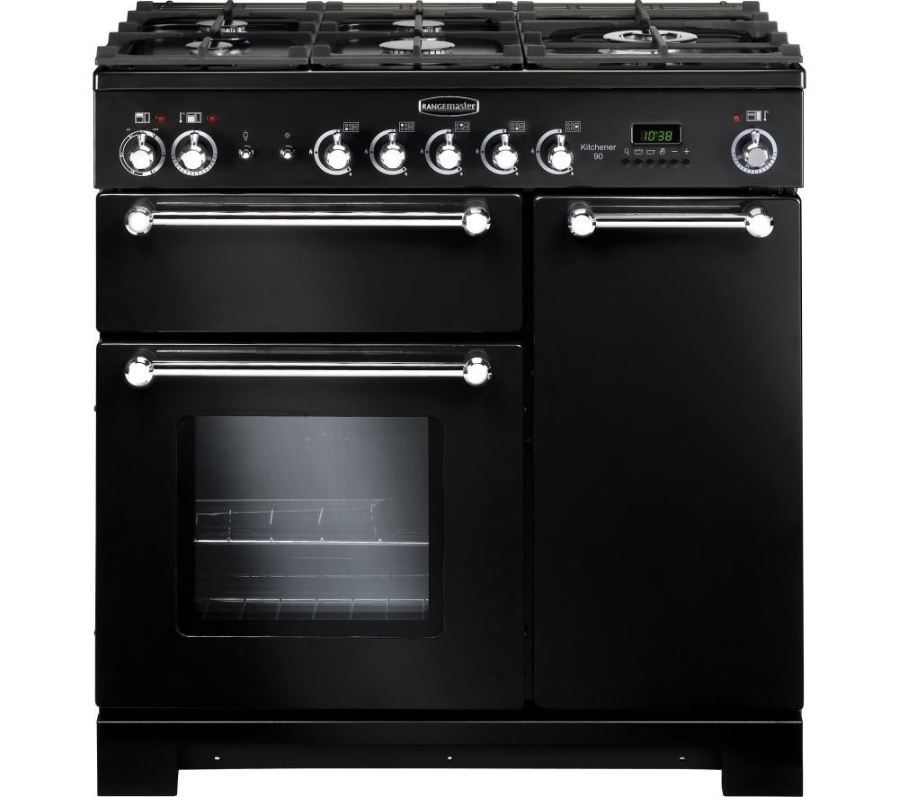 RANGEMASTER Kitchener 90 Dual Fuel Range Cooker - Black + Classic Splashback + LEIHDC90BC Chimney Hood - Black