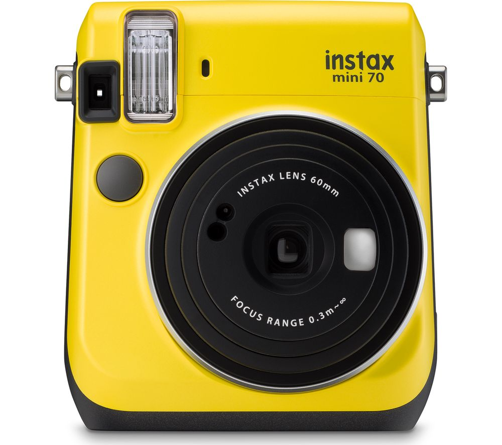 INSTAX Mini 70 Instant Camera - Yellow + Extreme Plus Ultra Performance Class 10 SD Memory Card - 32 GB, Twin Pack