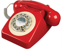 Image of WILD & WOLF 746 Corded Phone - Phone Box Red