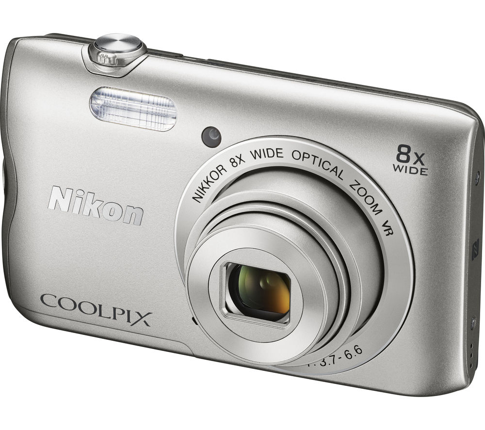 NIKON COOLPIX A300 Compact Camera - Silver + SWCOM13 Camera Case - Black + Extreme Plus Class 10 SDHC Memory Card - 16 GB, Twin Pack
