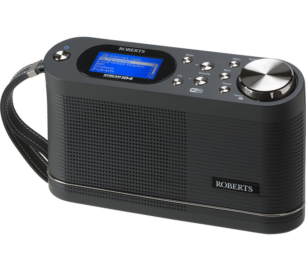 ROBERTS Stream 104 Portable DAB+/FM Smart Clock Radio - Black