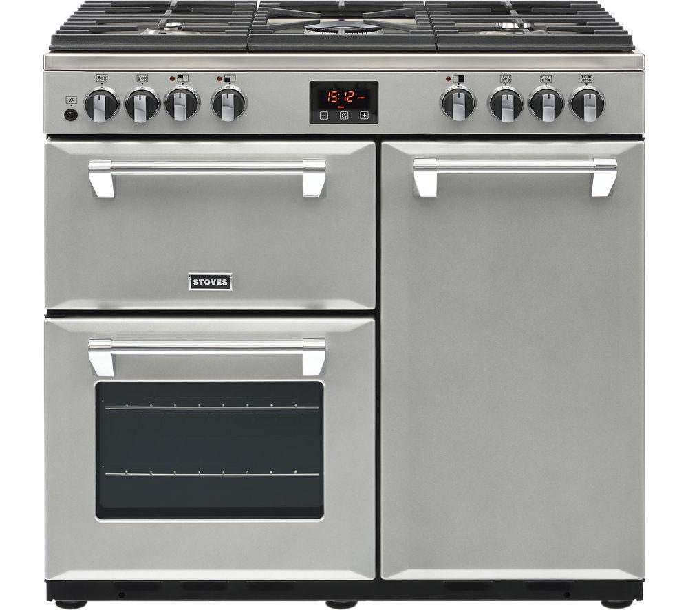Image of STOVES Ellingwood 90DFT MET SV 90 cm Dual Fuel Range Cooker - Metallic Silver, Silver