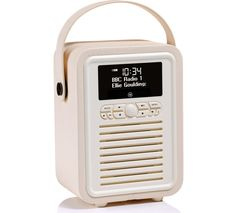 VQ Retro Mini Portable DAB+/FM Bluetooth Clock Radio - Cream