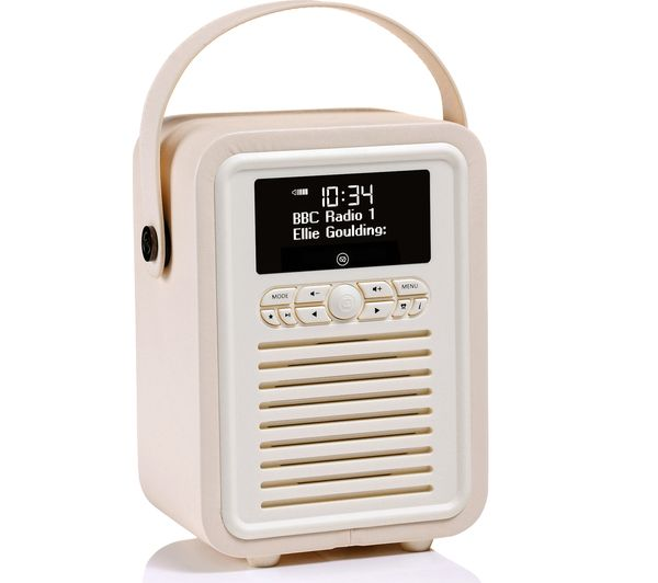 Image of VQ Retro Mini Portable DAB+/FM Bluetooth Clock Radio - Cream