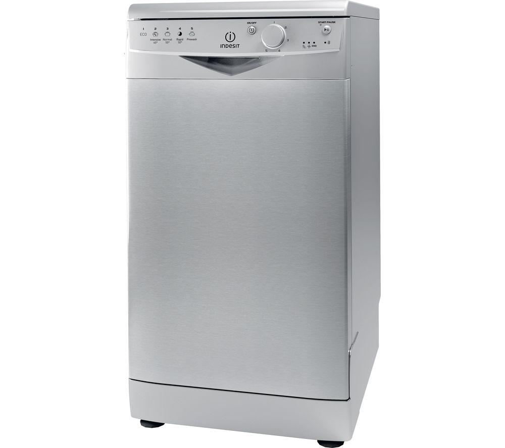 INDESIT  DSR15BS Slimline Dishwasher – Silver, Silver