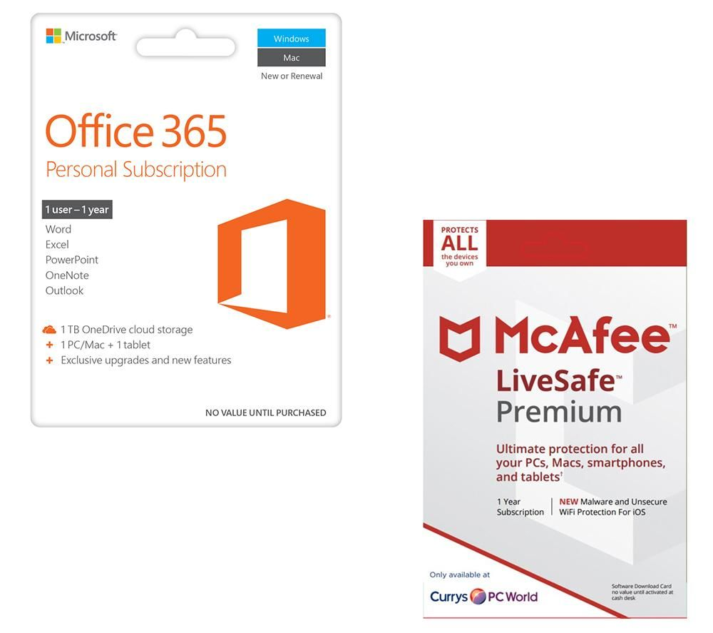microsoft office 365 personal livesafe unlimited bundle deals pc world. Black Bedroom Furniture Sets. Home Design Ideas