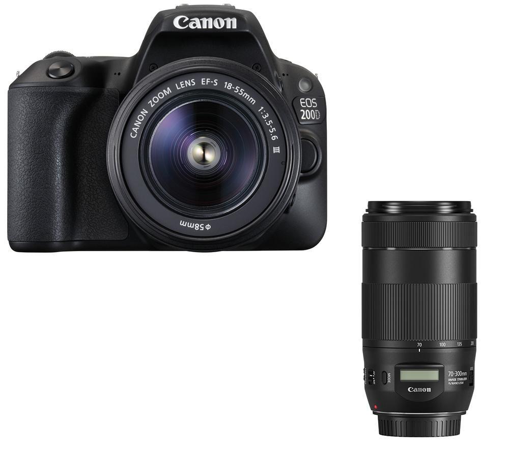 Image of CANON EOS 200D DSLR Camera, EF-S 18-55 mm f/3.5-5.6 III, EF 50 mm f/1.8 STM & EF 70-300 mm F/4-5.6 IS II USM Telephoto Zoom Lens